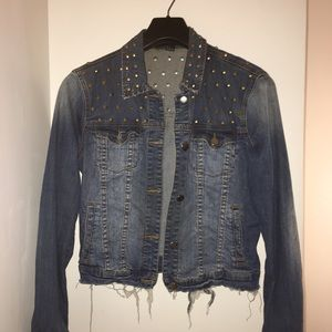 Forever 21 Denim Gold Studded Jean Jacket
